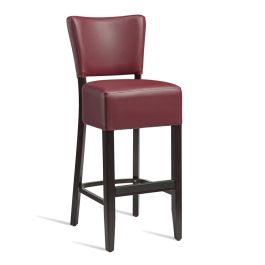 Club Luxurious Upholstered Cafe Bar Stool - Burgundy Faux Leather