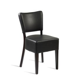 Club Luxurious Upholstered Cafe Side Chair - Black Faux Leather
