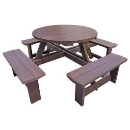 Recycled Plastic Round Outdoor Picnic Table - Dovedale