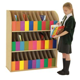3 Shelf Maple Bookcase with 33 Foolscap Storage Library Boxes - Bundle Deal