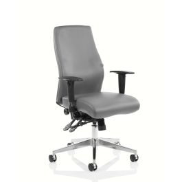 Onyx Ergo Posture Chair Grey Bonded Leather with Arms
