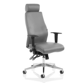 Onyx Ergo Posture Chair Grey Bonded Leather with Headrest and Arms