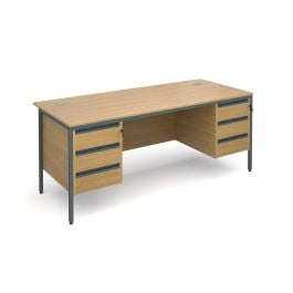 Maestro H Frame Straight Desk With 3 And 3 Drawer Pedestals