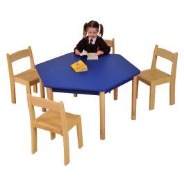 Hexagonal Coloured Beechwood Classroom Table