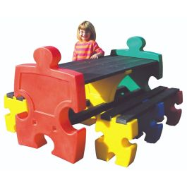 Jigsaw 6 Seater Recycled Plastic Outdoor Table & Bench Set