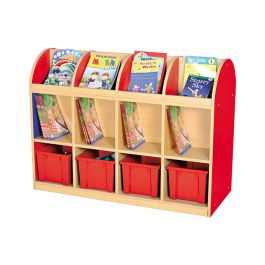 Milan Double Sided Book Storage with 4 Trays