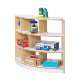 Alps Open Back 3 Shelf Curved Plywood Unit