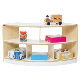 Alps Open Back 2 Shelf Curved Plywood Unit