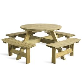 Next Day Delivery Round Wooden Picnic Table - King  8 Seater