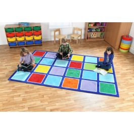 Rainbow Rectangle Placement Classroom Carpet