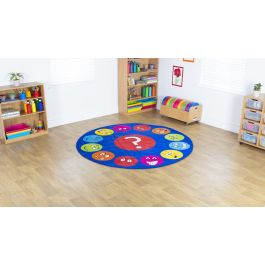 Emotions Faces Interactive Circular Classroom Carpet
