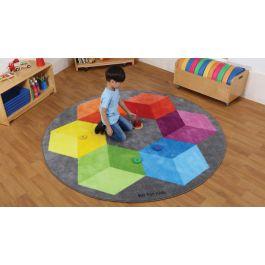 Decorative Rainbow Polygon Circular Classroom Carpet