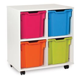 White Jumbo 4 Tray Storage Unit