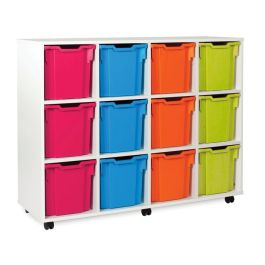 White 12 Jumbo Tray Storage Unit