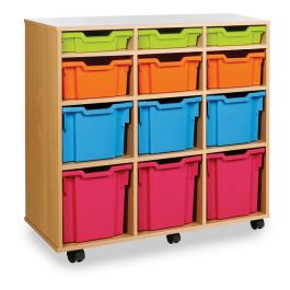 Monarch Variety Vertical 12 Tray Storage Unit - Maple