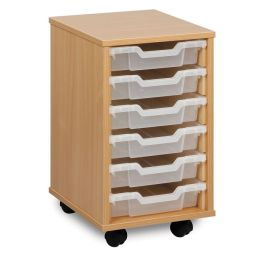 Monarch Single Bay 6 Shallow Tray School Storage Unit - Maple