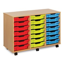 Monarch Triple Bay 21 Shallow Tray School Storage Unit - Maple