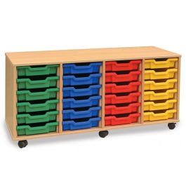 Monarch 24 Shallow Tray Quad Bay Storage Unit - Maple