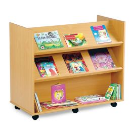 Double Sided Library Unit with 2 Angled and 1 Horizontal Shelf - Beech