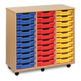 Monarch Triple Bay 30 Shallow Tray School Storage Unit - Beech