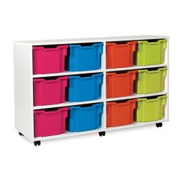 White 12 Extra Deep Tray Storage Unit