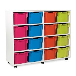White 16 Extra Deep Tray Storage Unit