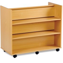 Monarch Library Unit with 3 Angled Shelves and 3 Horizontal Shelves - Beech