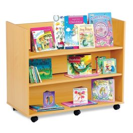 Monarch Double Sided Library Trolley with 3 Horizontal Shelves Each Side - Maple