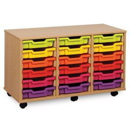 Monarch Triple Bay 18 Shallow Tray School Storage Unit - Maple