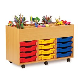 Monarch 6 Bay Kinderbox with 12 Shallow Trays - Maple