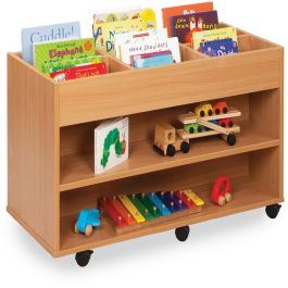 Monarch Double Sided 6 Bay Kinderbox with 1 Fixed Shelf - Beech