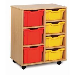 Monarch 4 Deep and 3 Extra Deep Tray Storage Unit - Maple