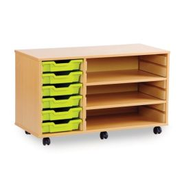 Monarch 6 Shallow Tray School Storage Unit with 2 Shelves - Beech
