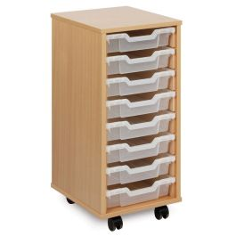 Monarch Single Bay 8 Shallow Tray School Storage Unit - Beech