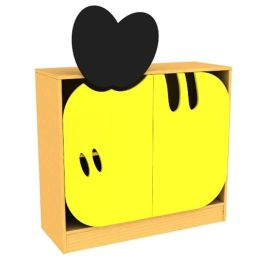 Children's Novelty Honey Bee Low Bookcase with Doors