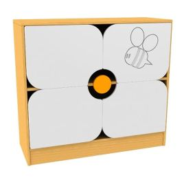 Children's Novelty Bookcase with Flower Doors and Honey Bee Detail