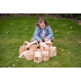 Outdoor Natural Hollow Toy Building Blocks with Storage Tray