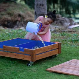 Outdoor Sandbox on Castors with 2 Trays and Lid