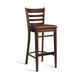 PLEUS Upholstered Cafe High Stool - Dark Walnut
