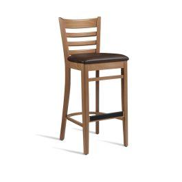 PLEUS  Upholstered Cafe High Stool - Light Oak