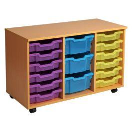 Triple Column 18 Shallow Tray Mobile Storage Unit