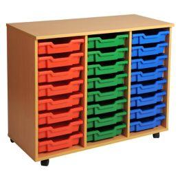 Triple Column 24 Shallow Tray Mobile Storage Unit