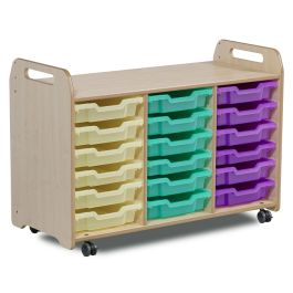 Playscapes Tray Storage Unit - 3 Columns with 18 Shallow Trays