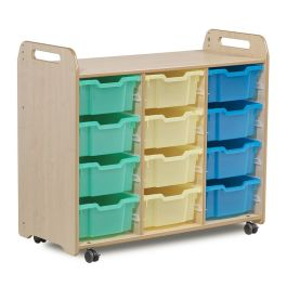 Playscapes Tray Storage Unit - 3 Columns with 12 Deep Trays