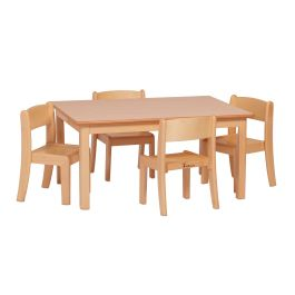 Early Years Rectangular Table and 4 Beech Stacking Chairs