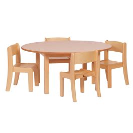 Circular Classroom Table and 4 Beech Stacking Chairs Set