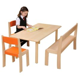 Natural Beechwood Rectangle Classroom Table