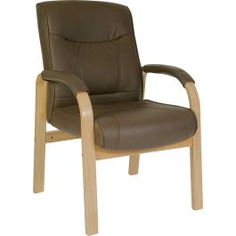 Richmond Leather and Wood Visitor Chair
