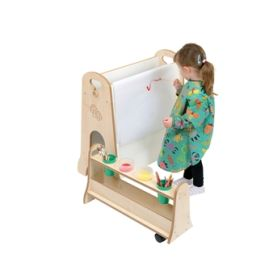 Mini Children's Blackboard and Drywipe Easel with Storage Trolley