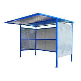 Traditional Cycle Shelter with Perforated Sides and Closed Back